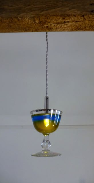Blue and yellow cocktail LED glass