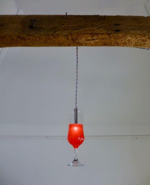 Red/orange Cocktail LED glass
