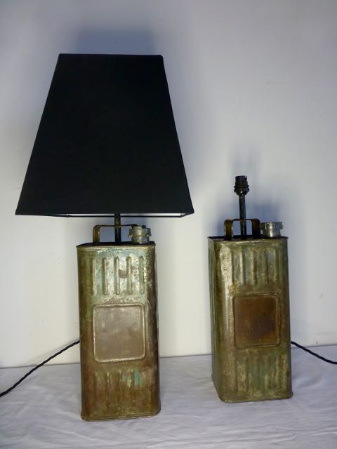 Picture of French Petrol can table lamps.