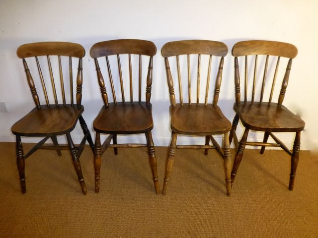 Picture of Set of 4 elm dinning chairs