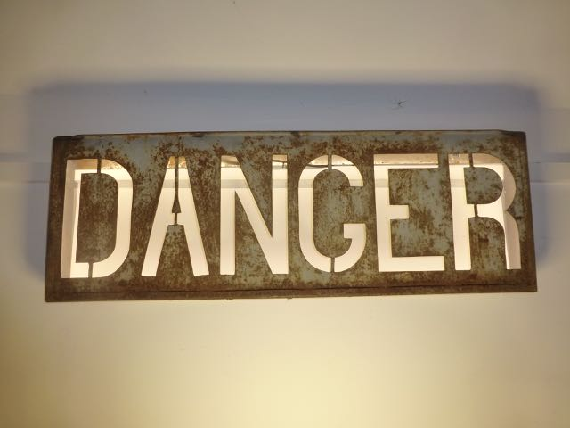 Picture of One of a pair of old railway danger signs