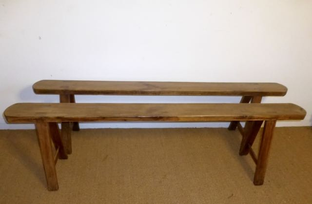Pair of French cherry benches