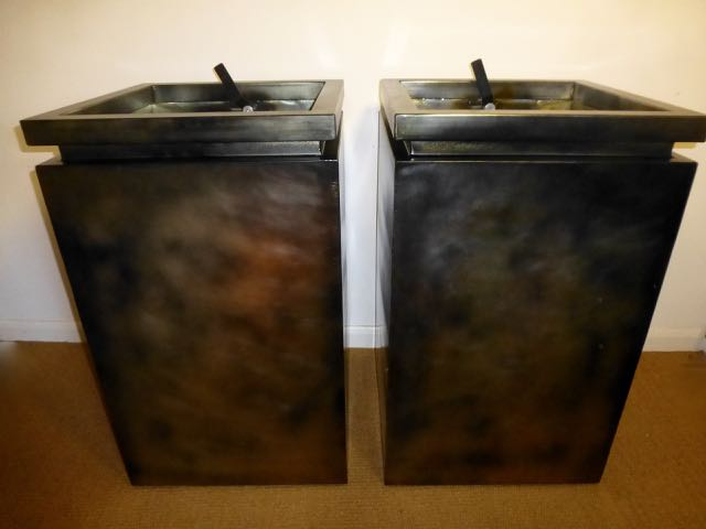 Pair of metal planters
