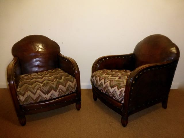 Picture of Pair of English leather chairs.