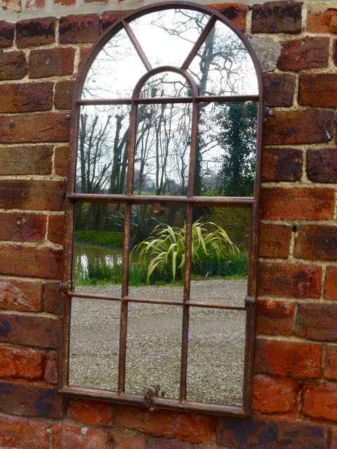 Picture of Cast iron arch top window mirror