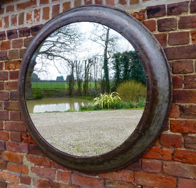 Picture of Round 114cm Industrial metal mirror