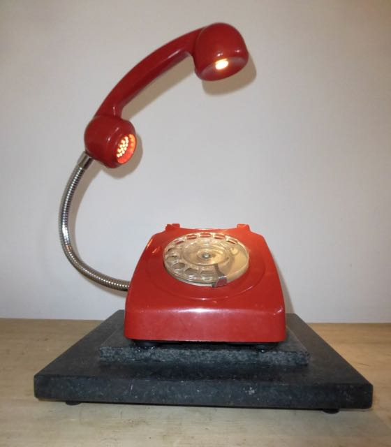 Mid century red LED telephone