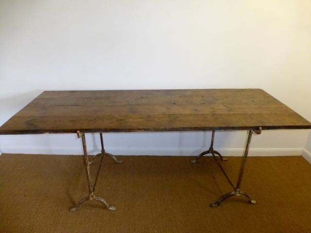 Trestle table with pitch pine floorboards