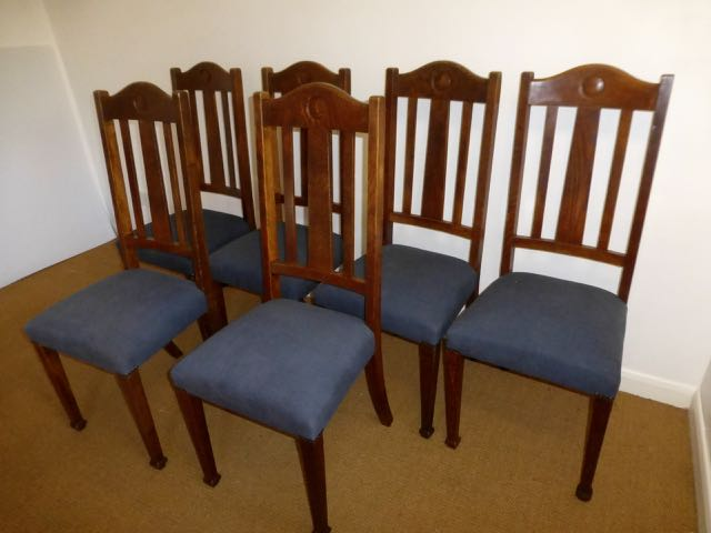 Picture of Set of 6 Edwardian oak chairs