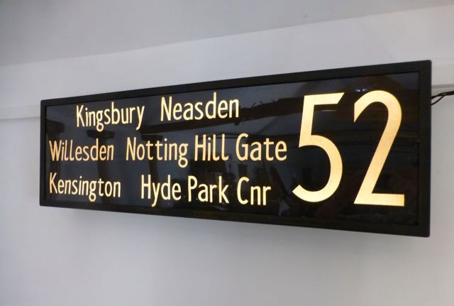Picture of old London bus roll destination sign