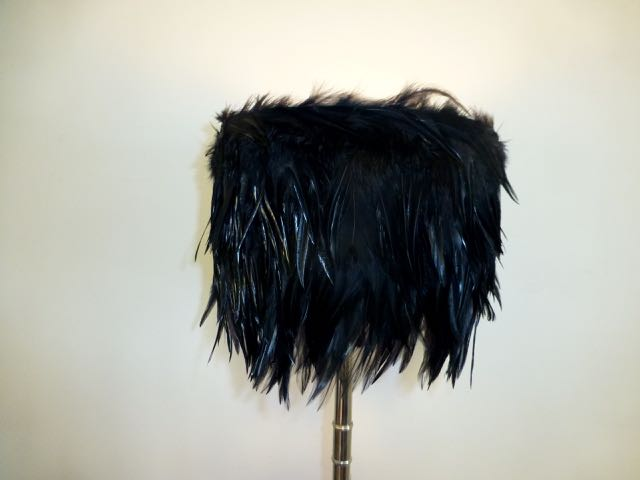 Picture of Black cockerel  feather drum shade