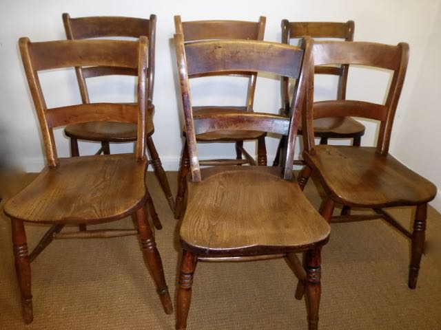 Picture of 6 English bar back chairs.