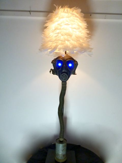 Spooky tall gas mask lamp