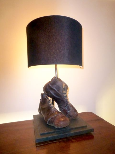 Old Footballers boots table lamp.