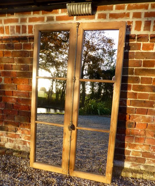 Picture of Pine French window mirror.