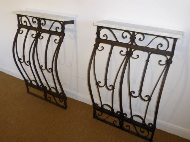 Picture of Pair of bowed railings consoles