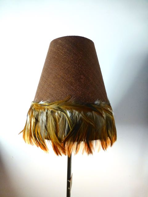 Picture of Small medium linen and cockerel tail cone shade