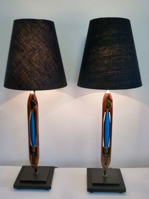 Picture of Pair of old shuttle loom lamps.