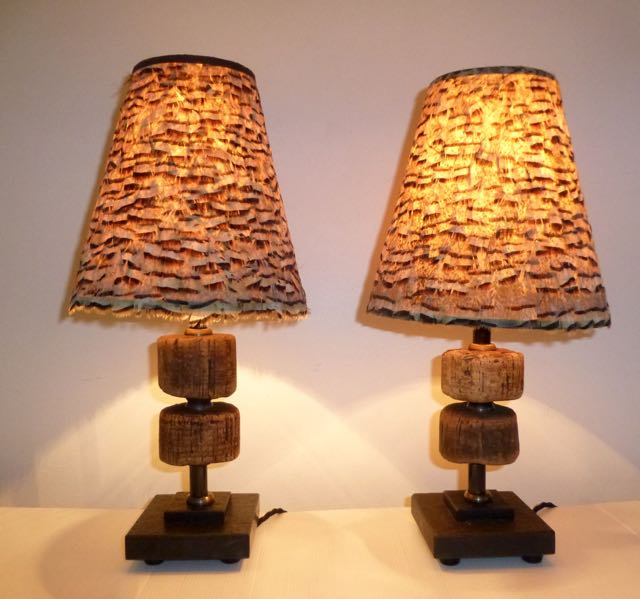 Pair of Scottish trawlers fisherman's net float table lamps.