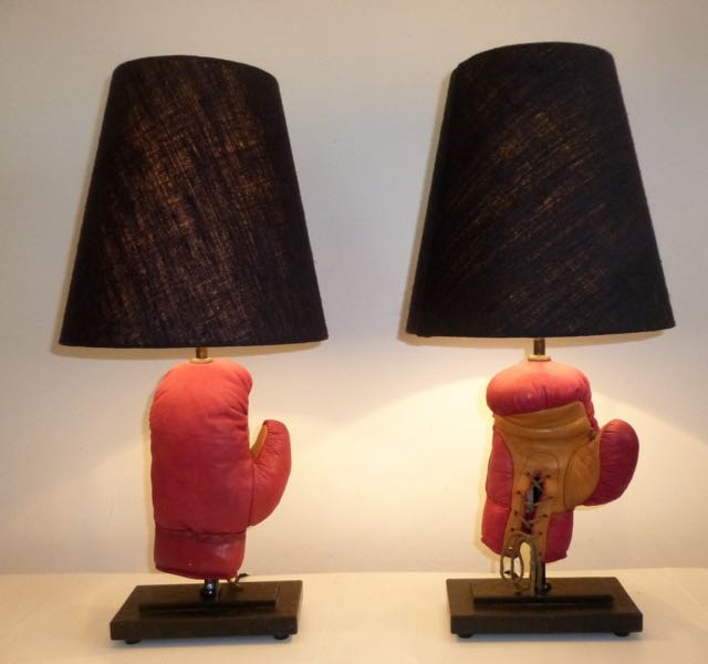 Pair of red boxing lamps