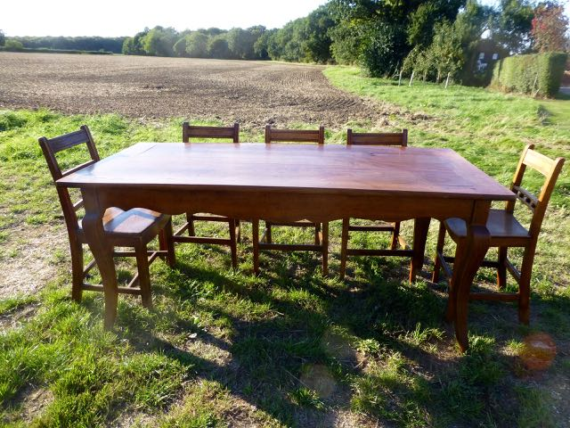 Picture of French cherry wood farm ouse table