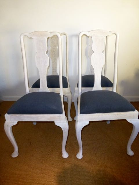 4 Edwardian oak chairs