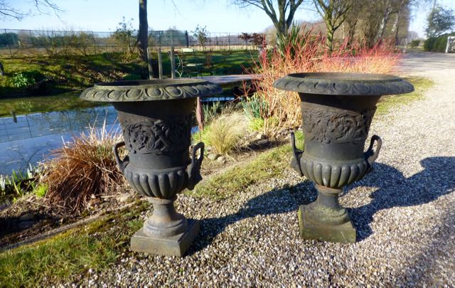 Pair of classic revival cast iron campana garden urns