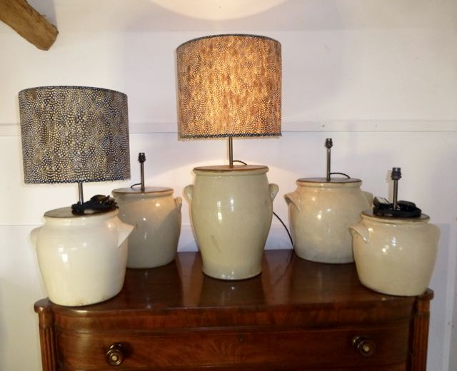 5 French olive jar lamps