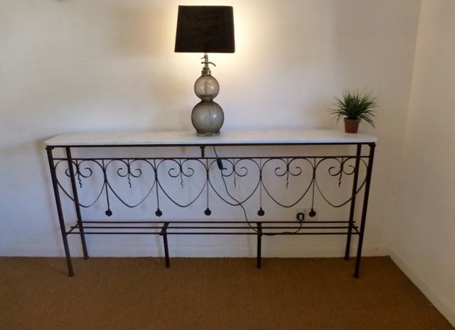French railings up-cycled into a console