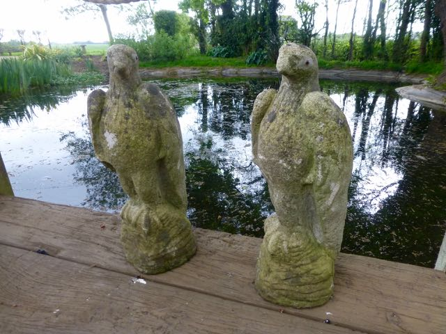 Picture of Pair of composition stone eagles
