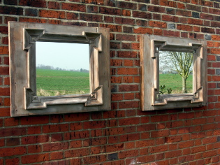 Picture of Old pine frame mirror
