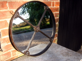 Regency round reclaimed window mirror