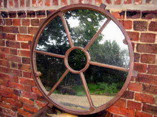 Round Victorian window mirror