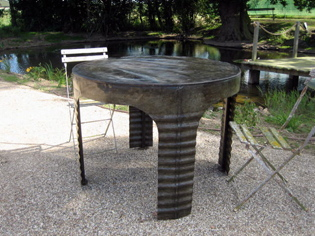 Picture of Round Ribbed Galvanised Water Tank Table