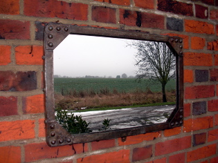 Small galvanised water tank mirror