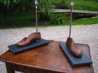 Pair of shoe larths table lamps