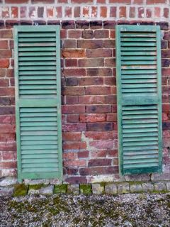 Pair of French green shutters