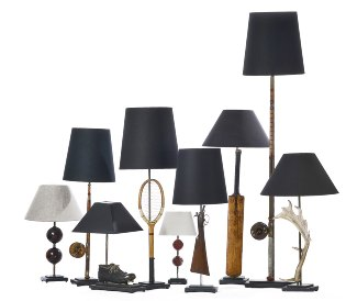Picture of A collection of sporting memrobelia lamps