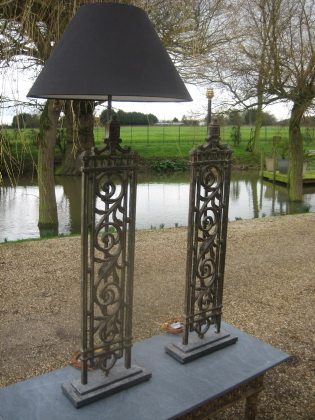 Picture of Pair of Elegant tall balustrades table lamps