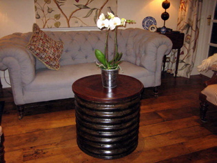 Round Galvanised Water Tank Lamp Table