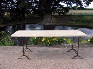 Trestle Table with Reclaimed Boards