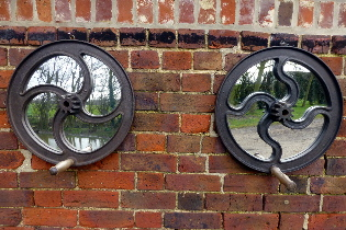 Picture of Pair of industrial wheel mirrors