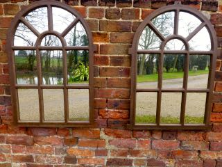 Picture of Pair of arched window mirrors